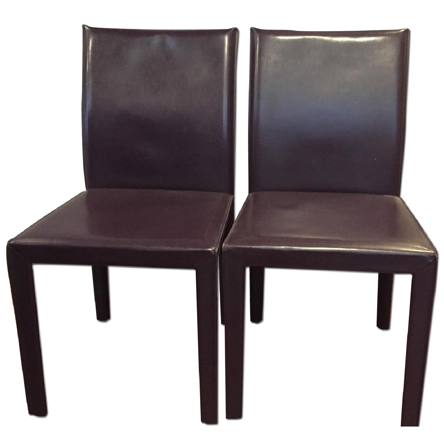 Maria Yee Leather Side Chair in Plum - Pair - image-0