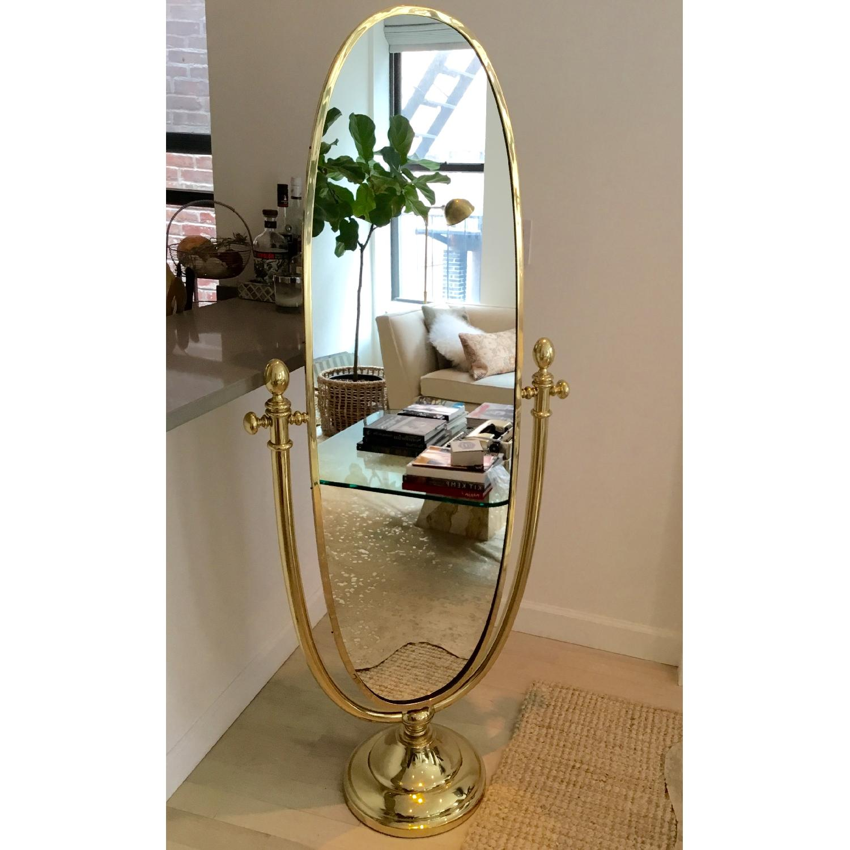 1960's Vintage Italian Freestanding Brass Mirror w/ Marble Base - image-1