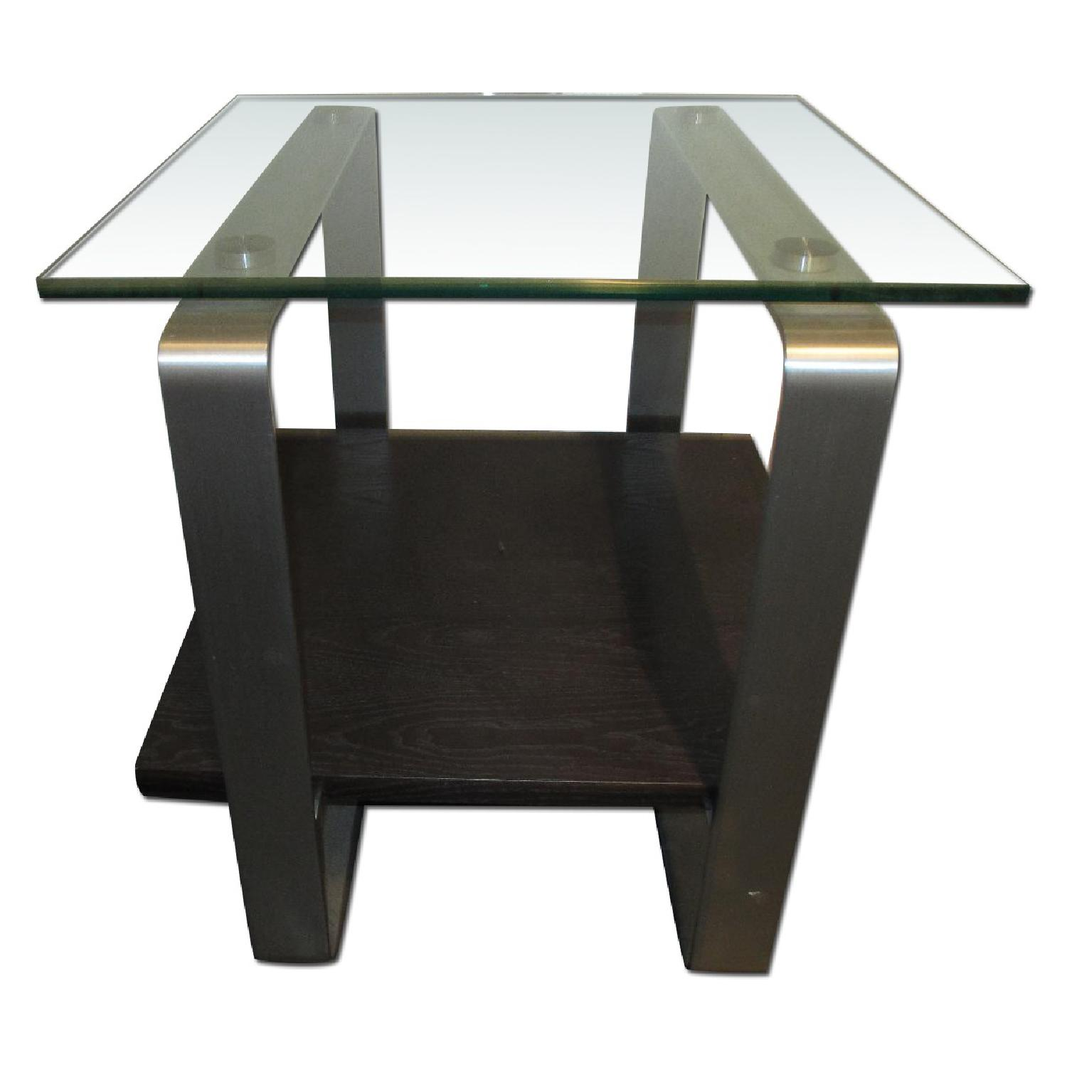 Glass Top Side Table - image-0