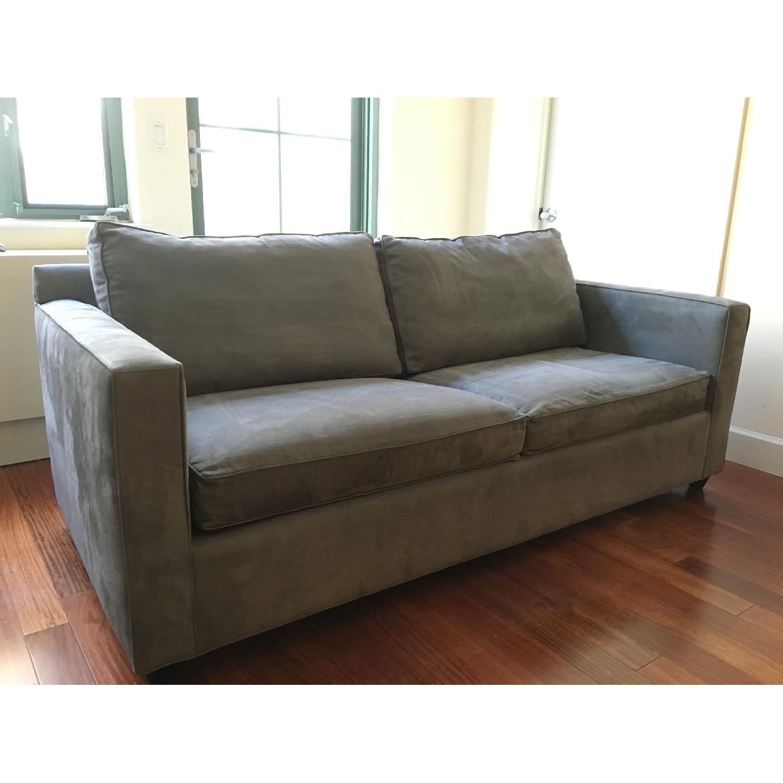 Crate & Barrel Blue Microfiber Sofa - image-2