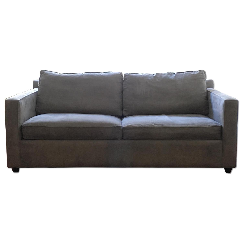 Crate & Barrel Blue Microfiber Sofa - image-0