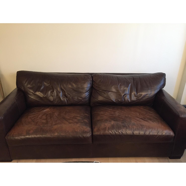 Crate & Barrel Brown Leather Sofa - image-1