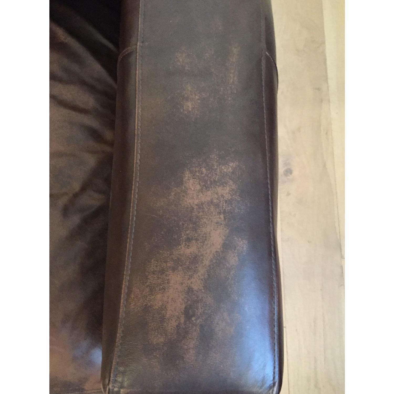 Crate & Barrel Brown Leather Sofa - image-2