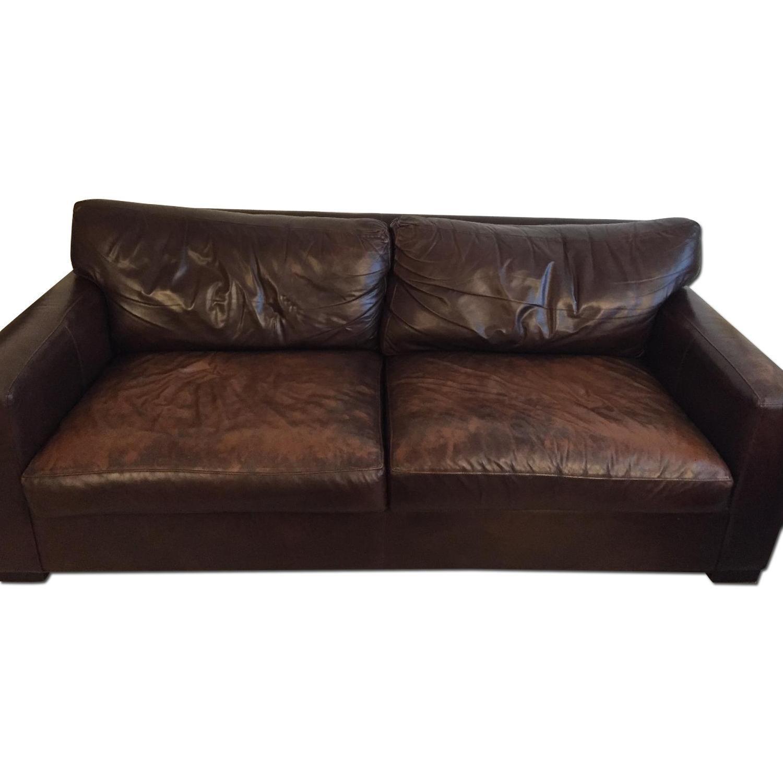 Crate & Barrel Brown Leather Sofa - image-0