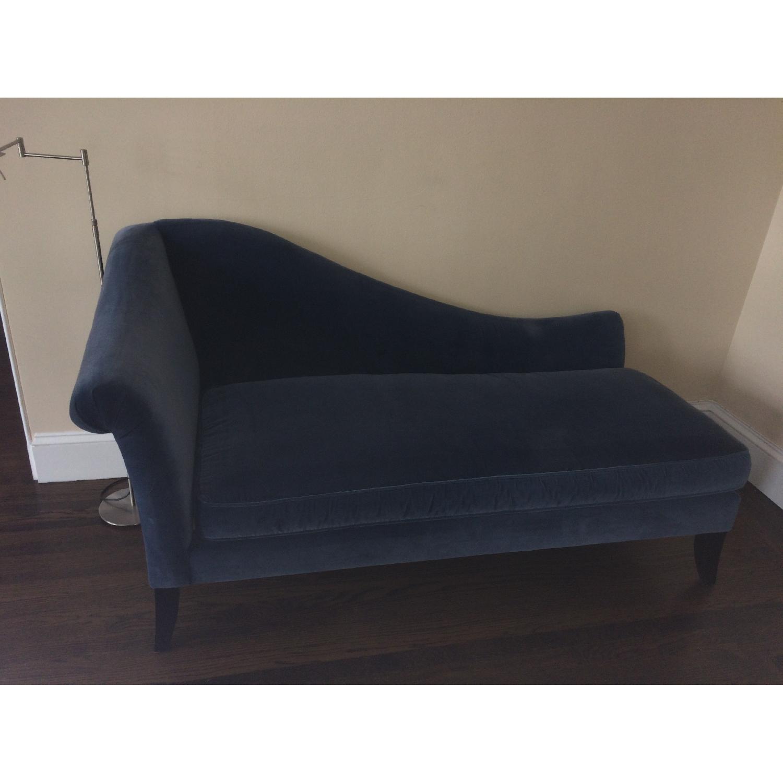 Crate & Barrel Blue Velvet Chaise Lounge - image-1