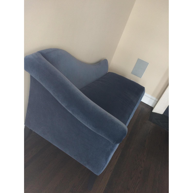 Crate & Barrel Blue Velvet Chaise Lounge - image-2