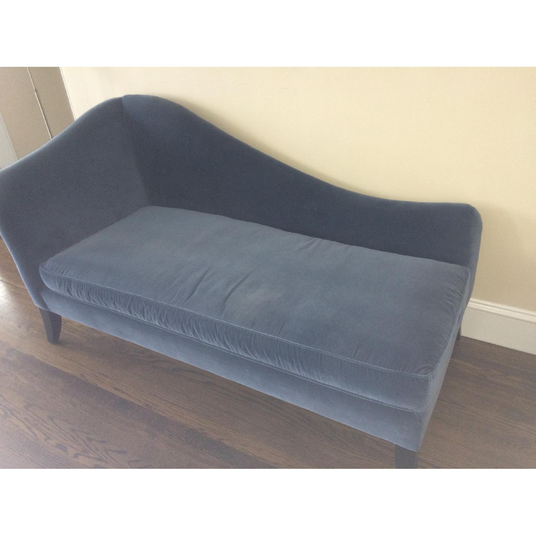 Crate & Barrel Blue Velvet Chaise Lounge - image-3