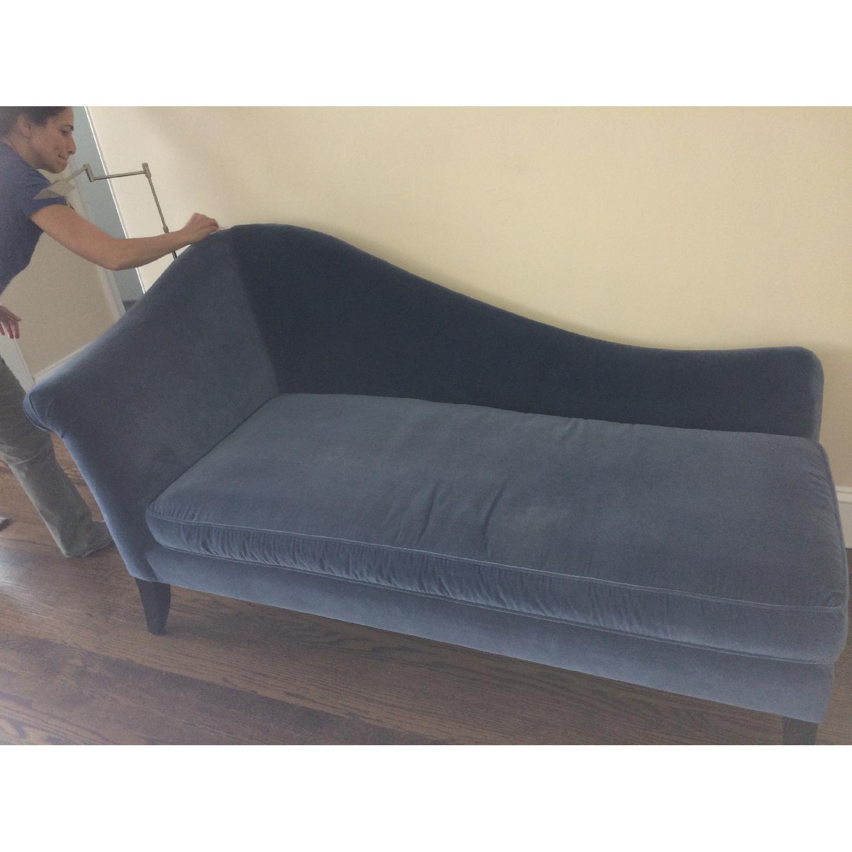 Crate & Barrel Blue Velvet Chaise Lounge - image-4