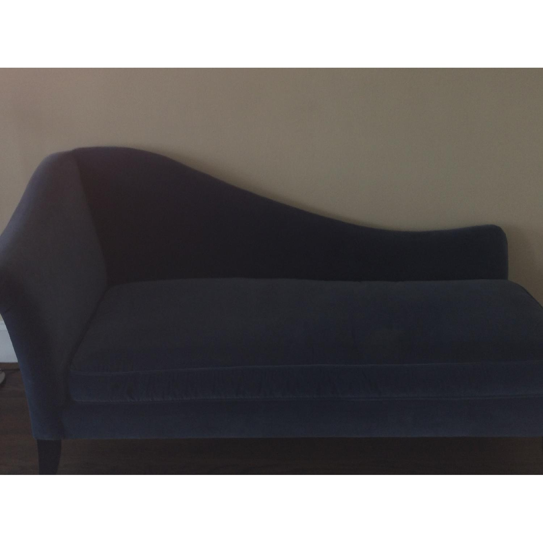 Crate & Barrel Blue Velvet Chaise Lounge - image-5