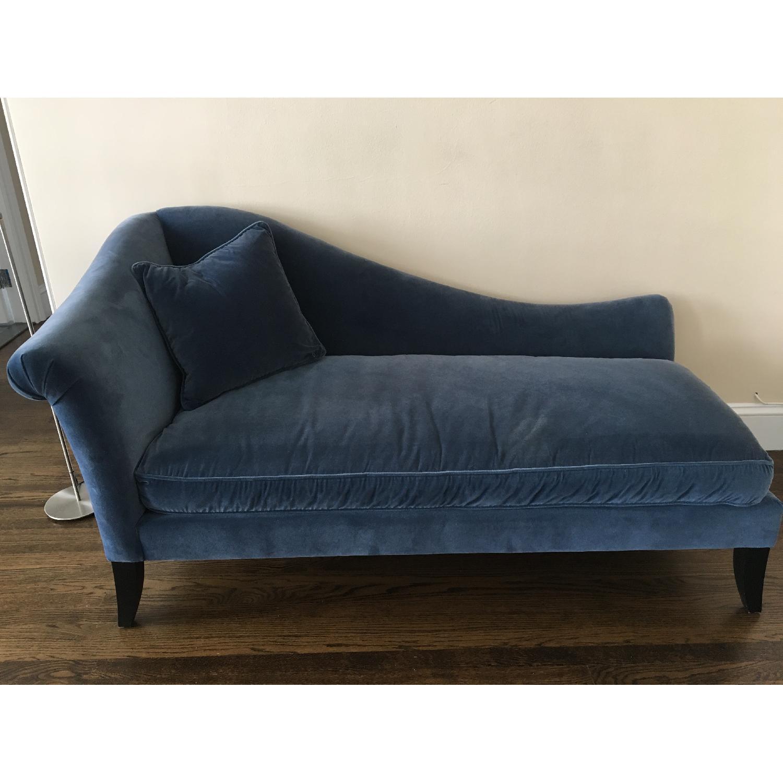 Crate Barrel Blue Velvet Chaise Lounge Aptdeco