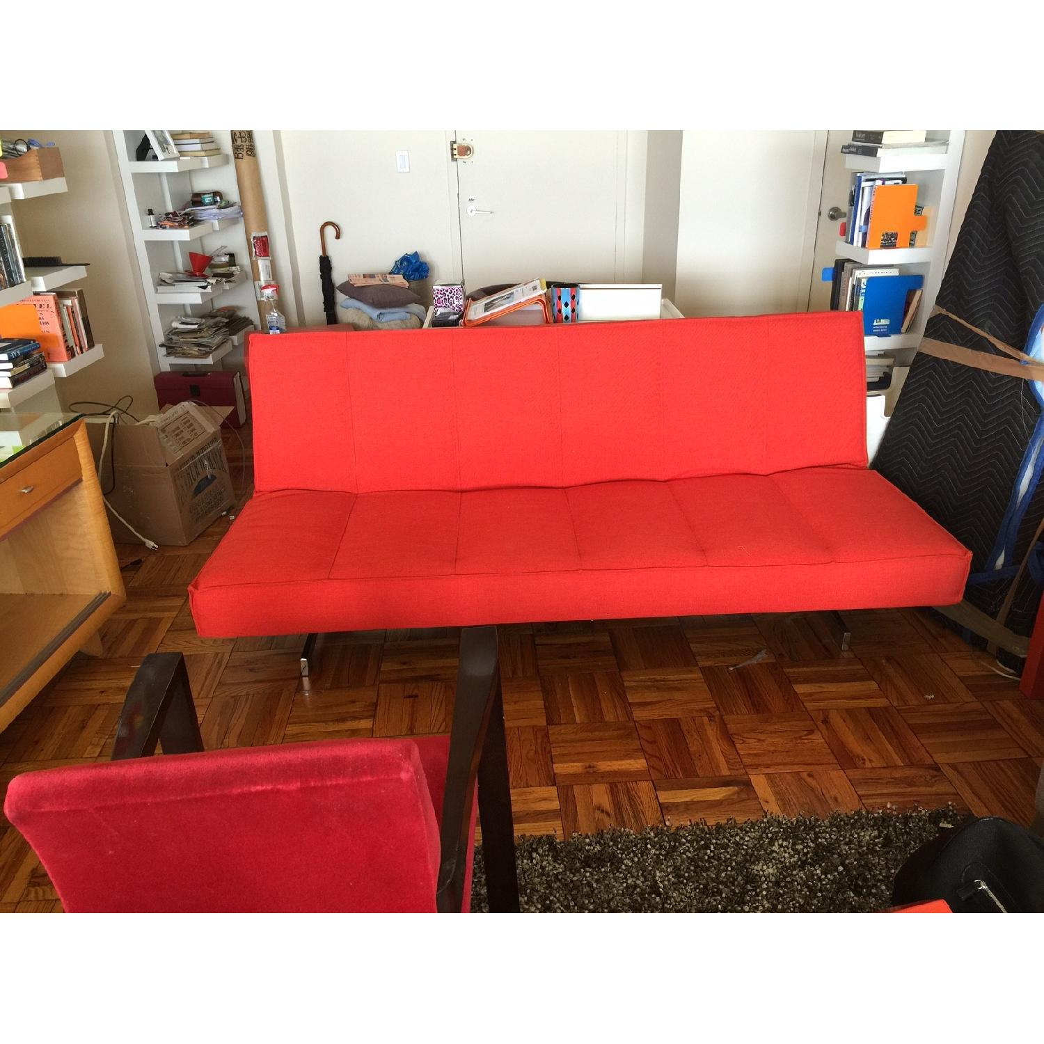 Red Fold Down Sofa Bed - image-1