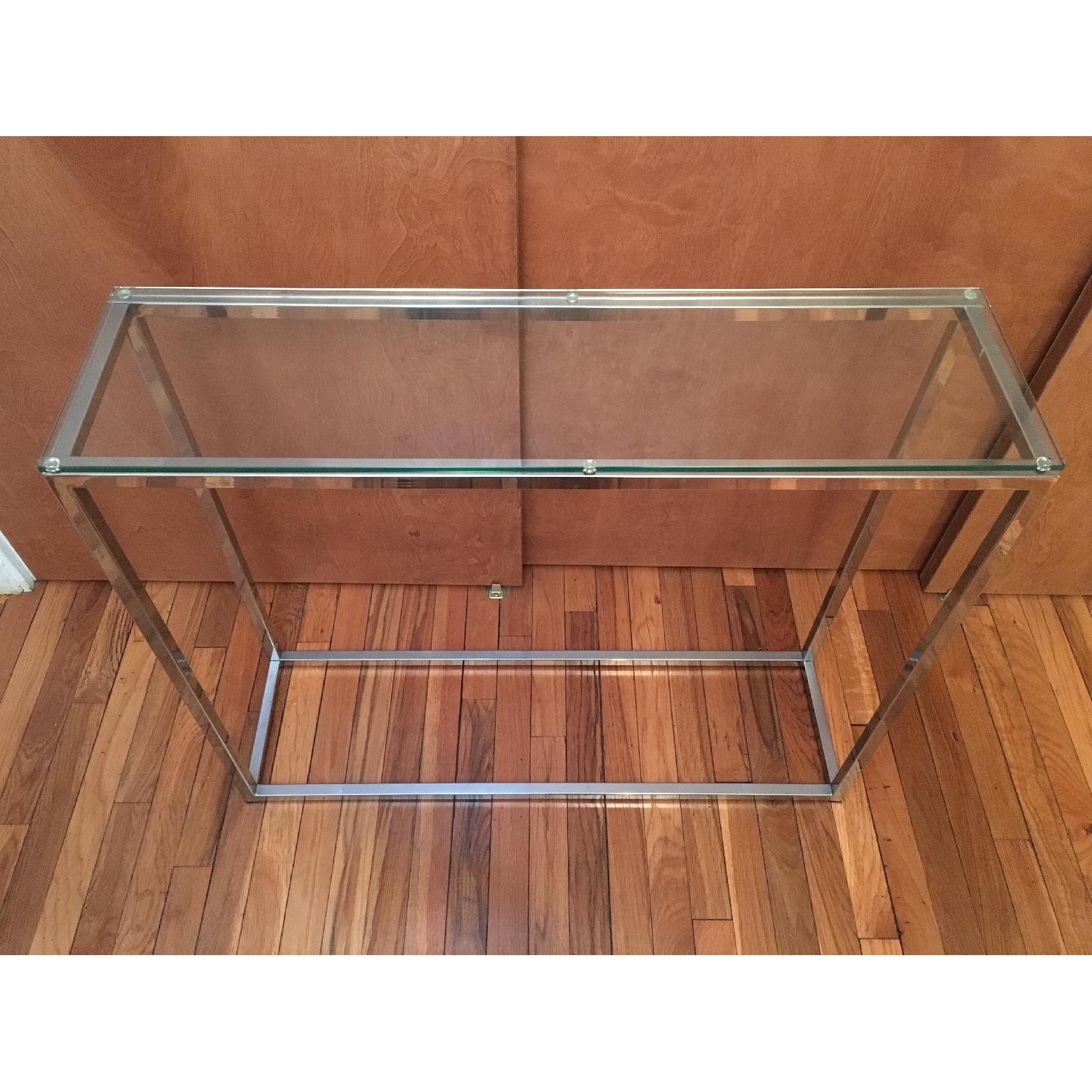 Crate & Barrel Glass Side Table - image-1