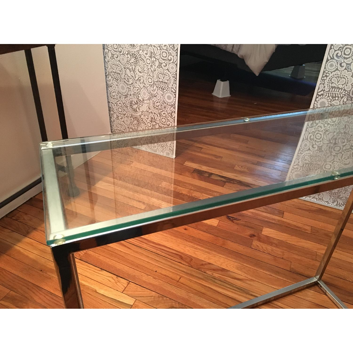 Crate & Barrel Glass Side Table - image-4