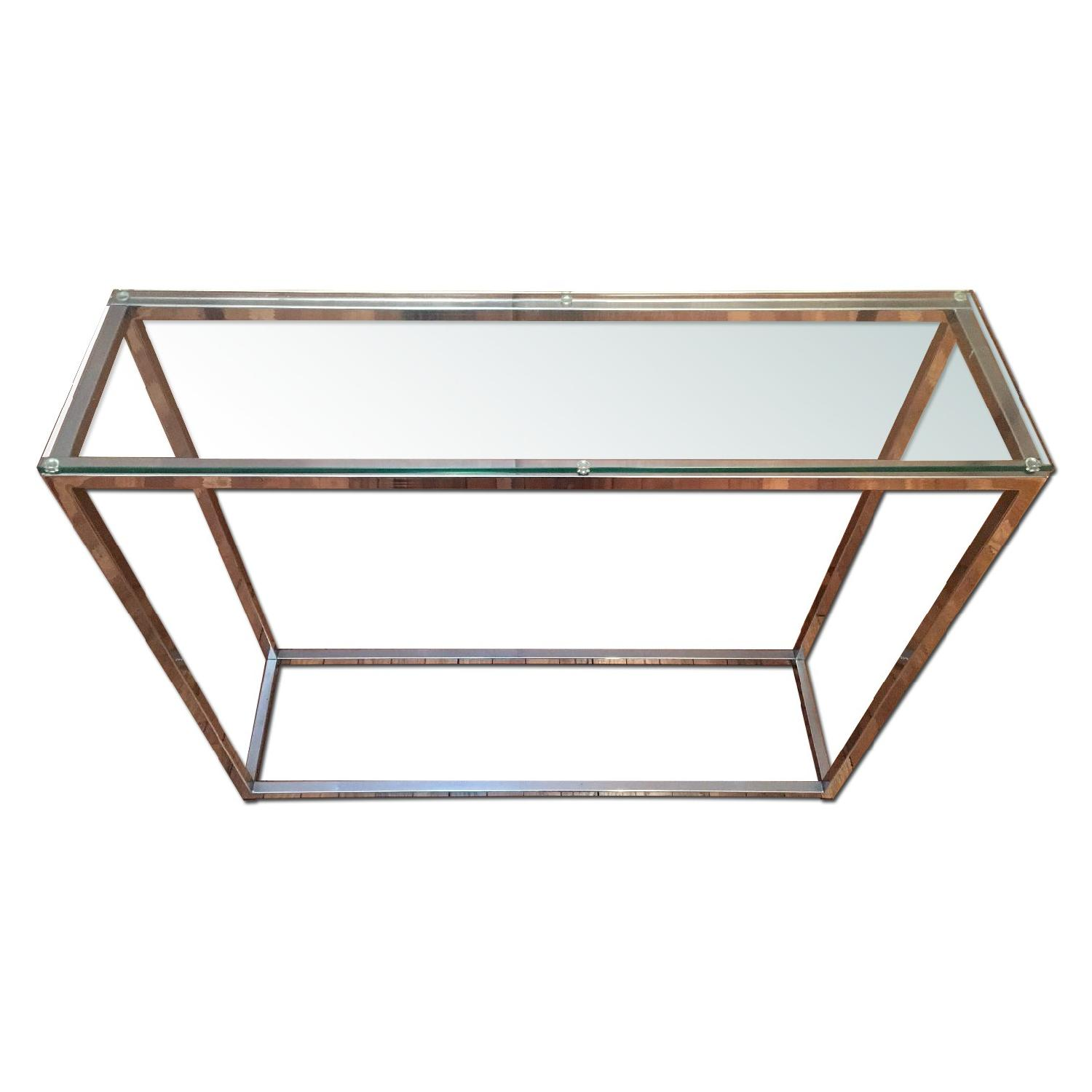 Crate & Barrel Glass Side Table - image-0