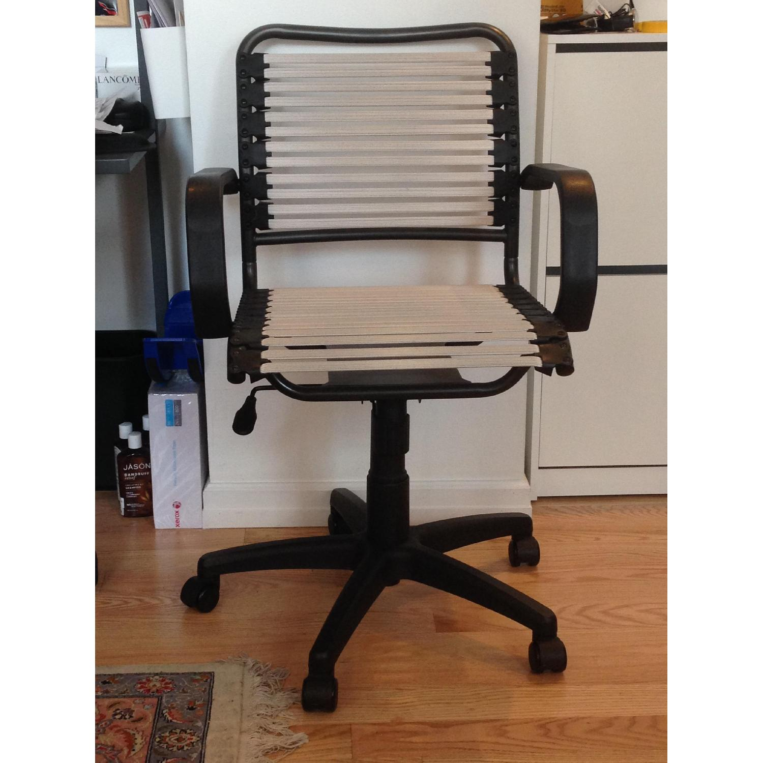 Container Store White Flat Bungee Office Chair w/ Arms - image-1