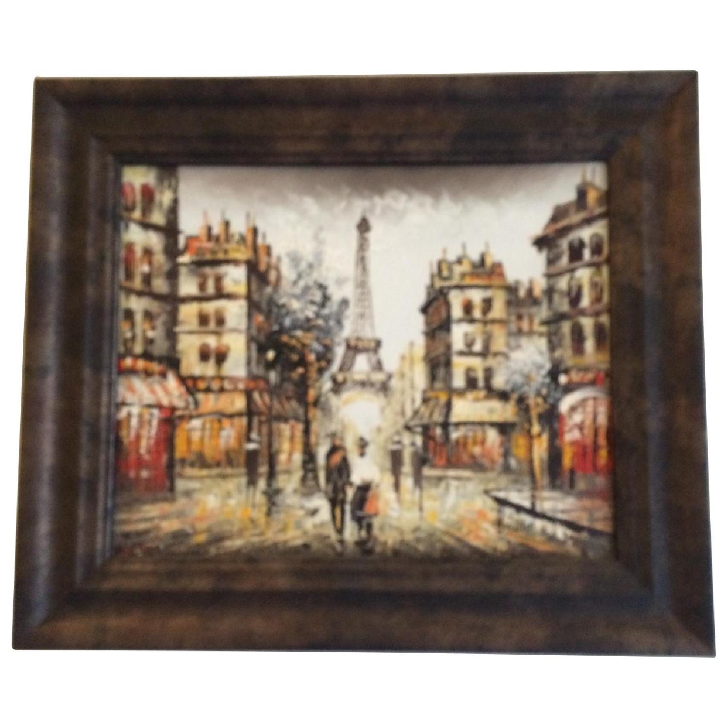 Framed Eiffel Tower Painting from Montmartre Paris - image-0