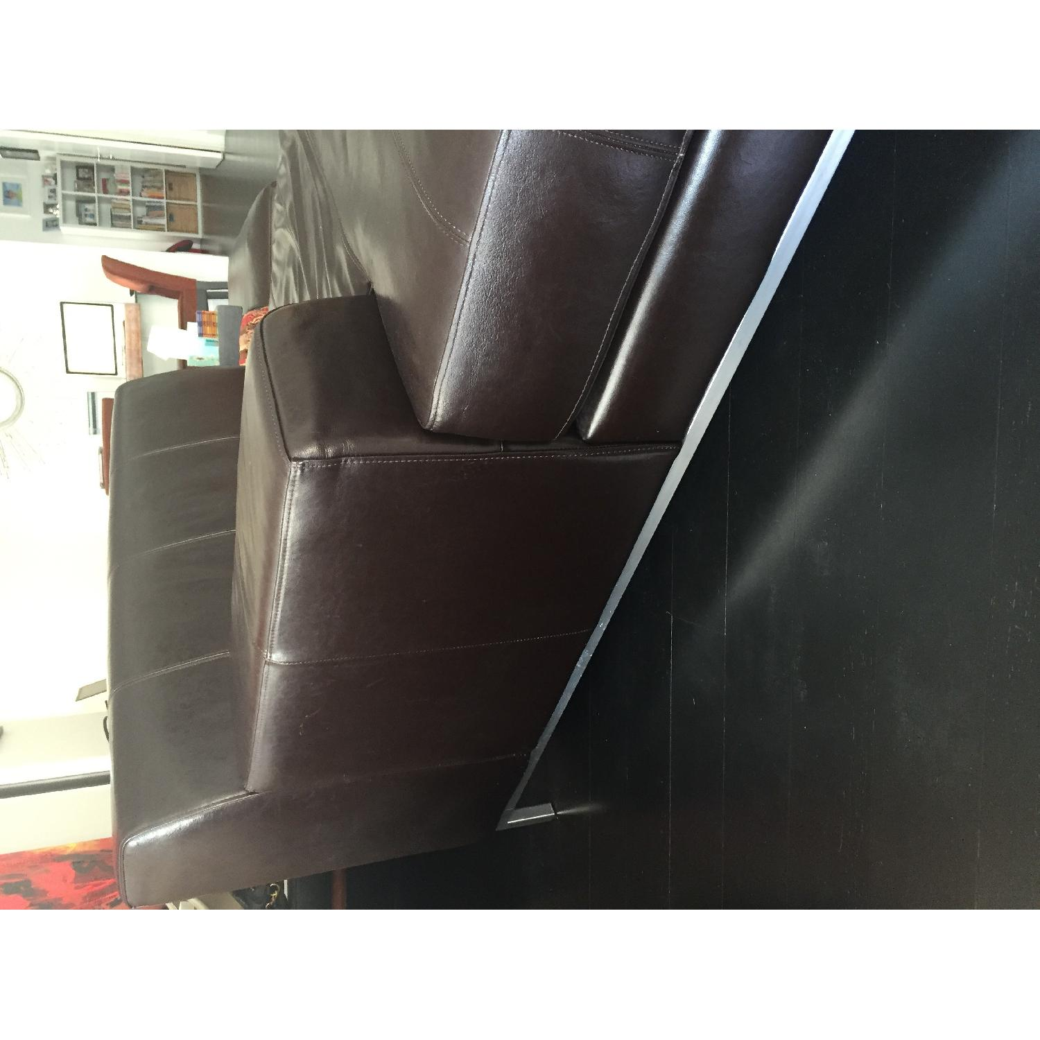 Ikea Leather Chaise Lounge in Dark Brown - image-3