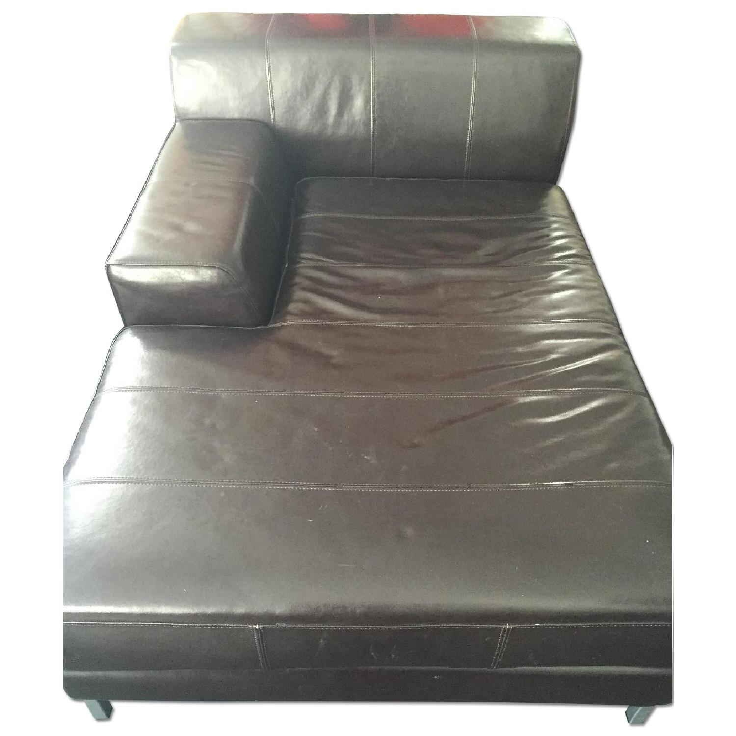 Ikea Leather Chaise Lounge in Dark Brown - image-0
