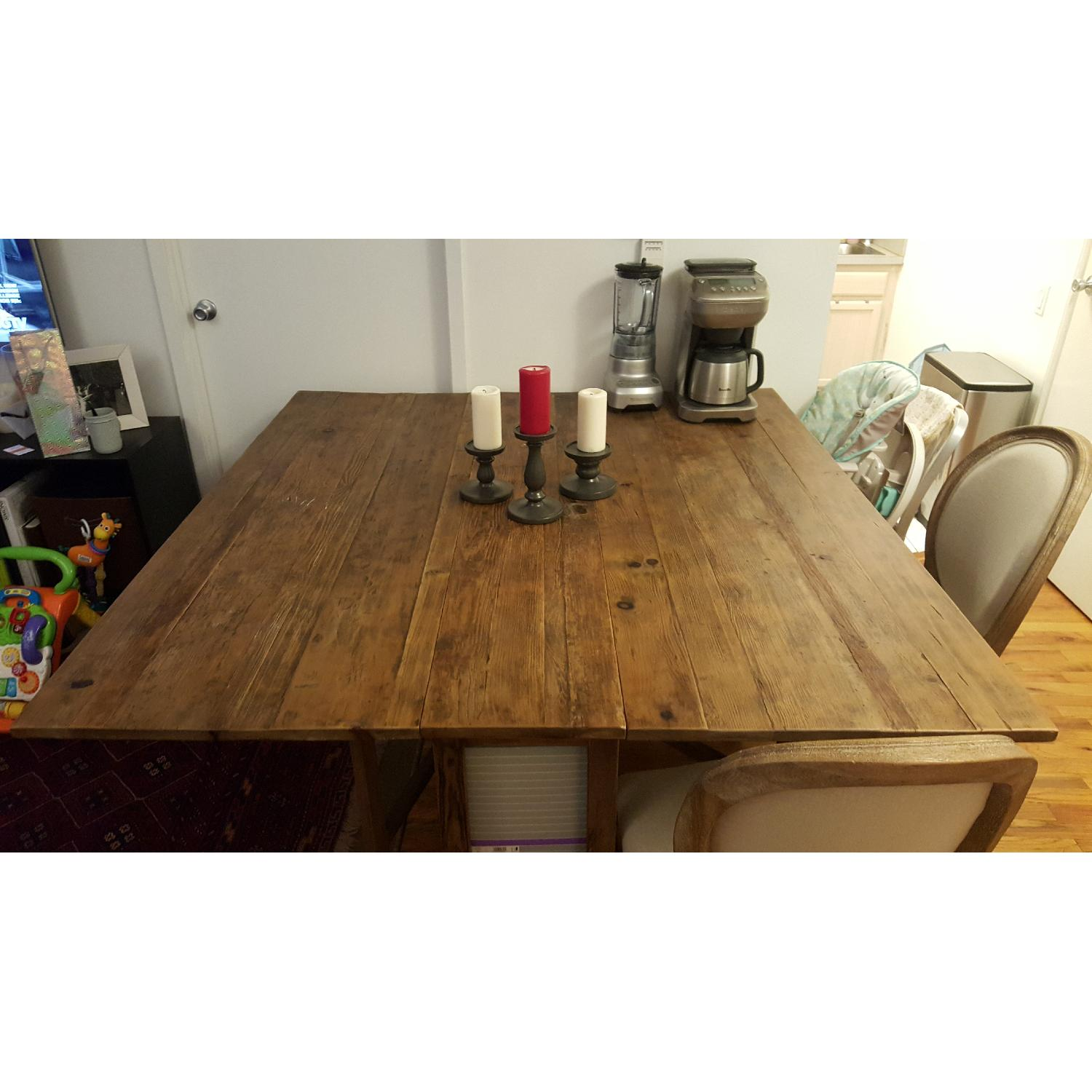 ABC Home Natural Wood Dining Table w/ 2 Sided Drop Leaf - image-1