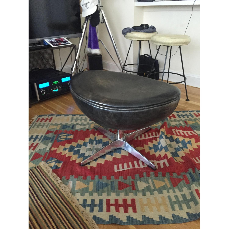 Restoration Hardware Leather Ottoman - image-1