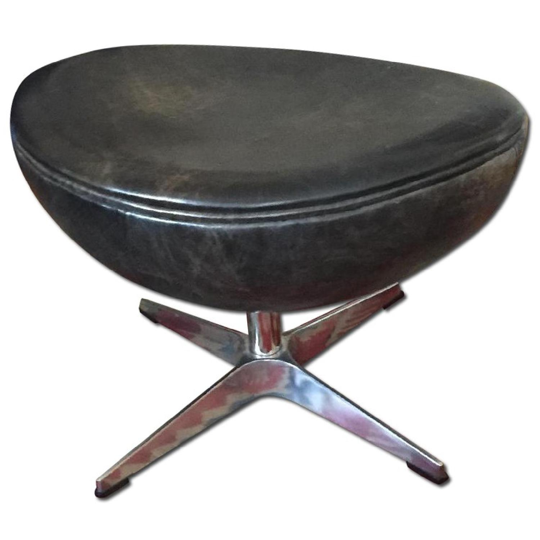 Restoration Hardware Leather Ottoman - image-0