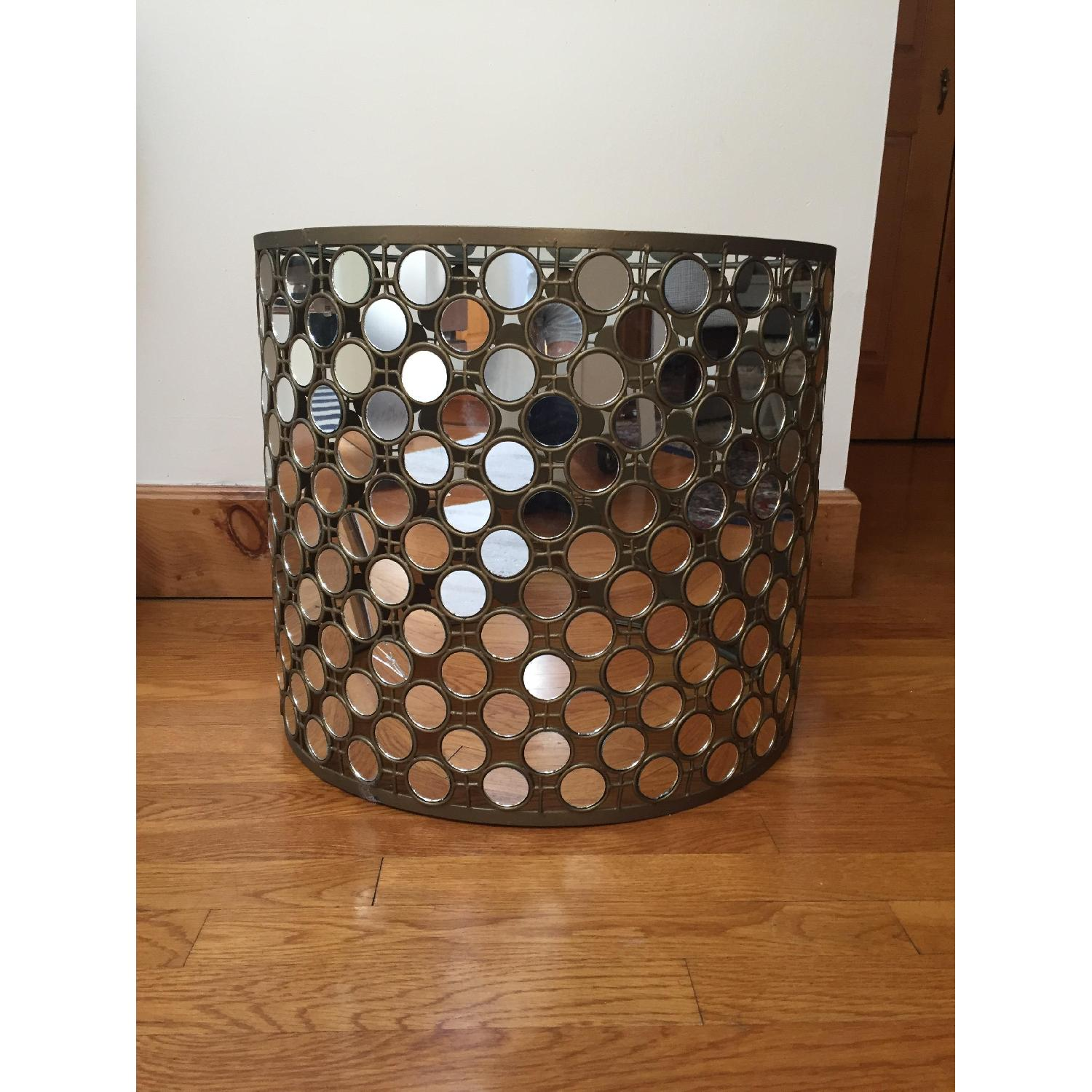 West Elm Mirrored Round Side Table - 2 Available - image-1