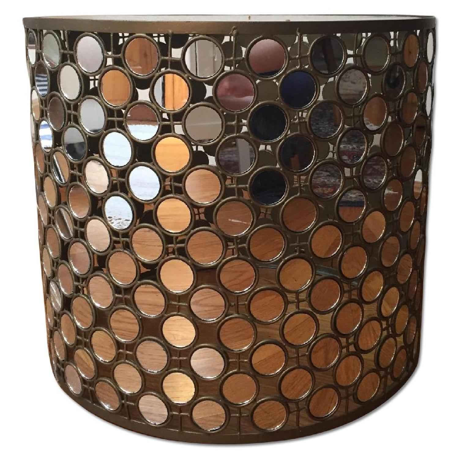 West Elm Mirrored Round Side Table - 2 Available - image-0