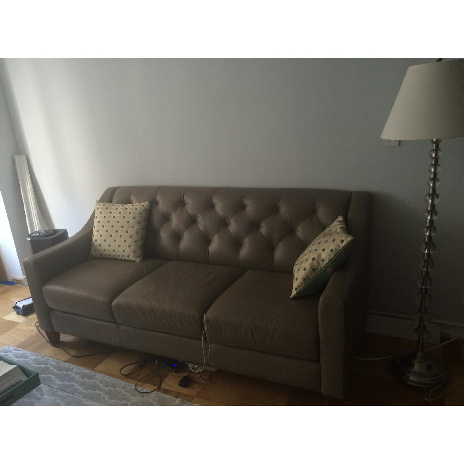 Neutral Gray Tone Leather Couch + Matching Love Seat - image-1