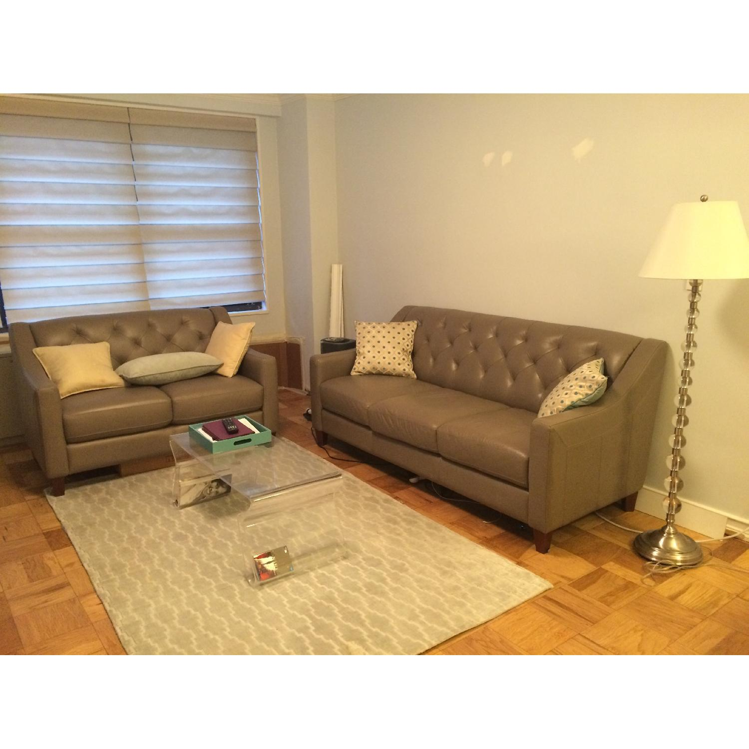 Neutral Gray Tone Leather Couch + Matching Love Seat - image-3