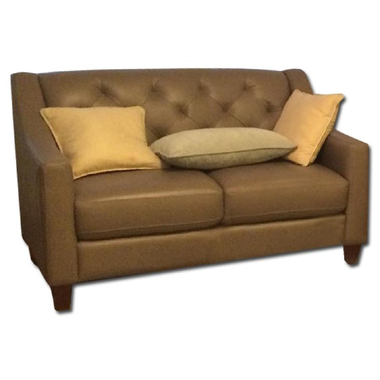 Neutral Gray Tone Leather Couch + Matching Love Seat - image-4