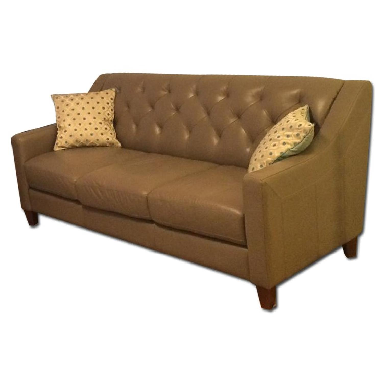 Neutral Gray Tone Leather Couch + Matching Love Seat - image-0