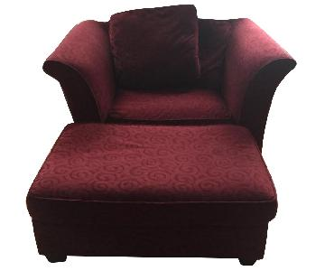 Macy's Maroon Lounge Chair & Ottoman