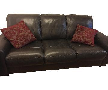 Raymour & Flanigan Leather 3 Seater Sofa