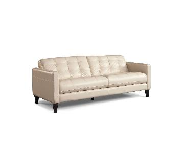 Macy's White Leather Tufted Sofa