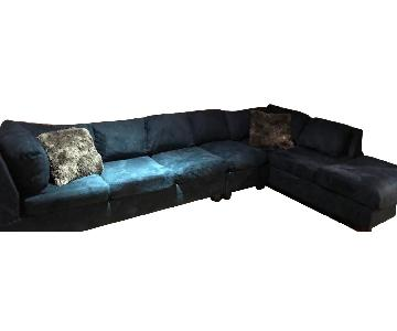 Luis Furniture Dark Blue Sectional Sofa