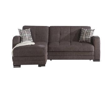 Istikbal Brown Sleeper Sectional Sofa w/ Storage