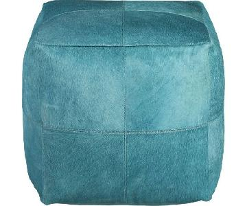 CB2 Pony Up Aqua Pouf