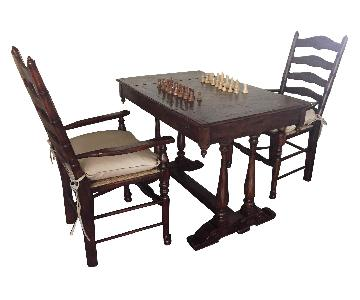 Theodore Alexander Country Cottage Games Table w/ 2 Chairs