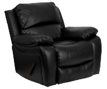 Offex Black Leather Rocker Recliner