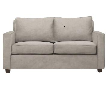 West Elm Henry Dove Grey Velvet Sofa