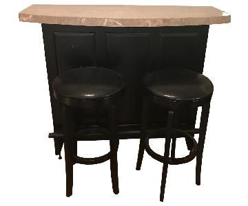 Marble Top Black Bar w/ 2 Bar stools