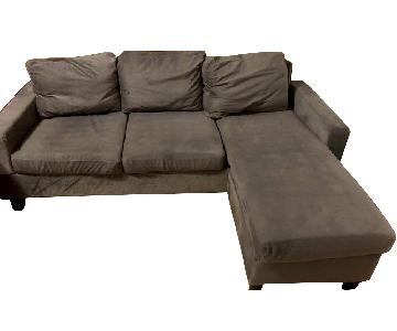 Dark Grey Microsuede 2-Piece Sectional Sofa