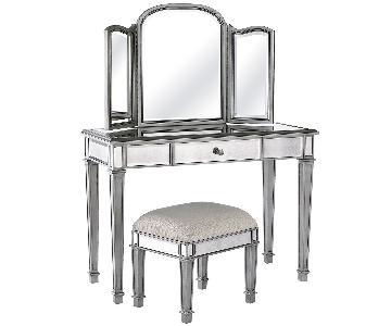 Pier 1 Hayworth Silver Mirrored Vanity Table & Stool
