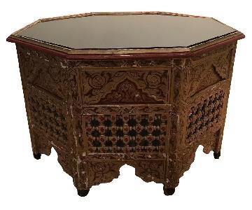Vintage Handprinted Moroccan Octagon Coffee Table