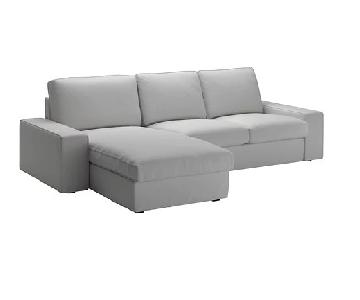Ikea Kivil Light Grey Sectional Sofa & Storage Ottoman