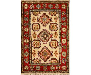 Kazak Randell Ivory/Red Hand-Knotted Wool Rug