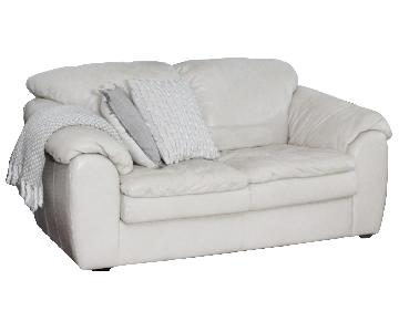 Michael Anthony Furniture White Leather Loveseats
