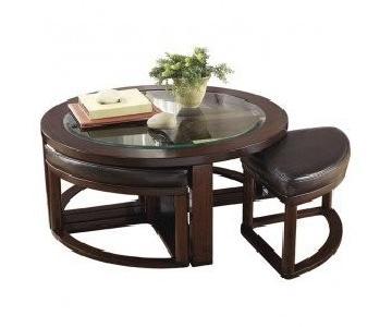 Ashley Marion Coffee Table w/ 4 Ottomans