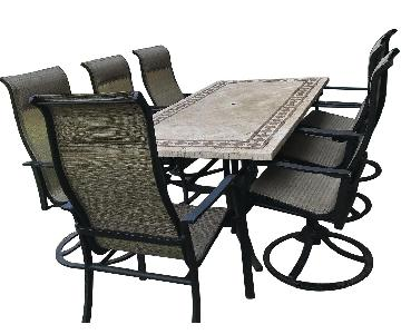 Fortunoff Stone Outdoor 7-Piece Dining Set