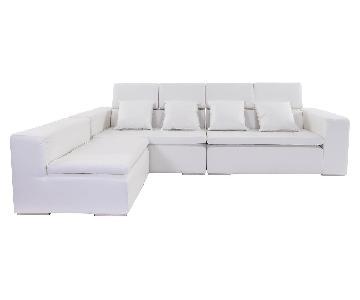 Modani Monaco White Leather Sectional Sofa